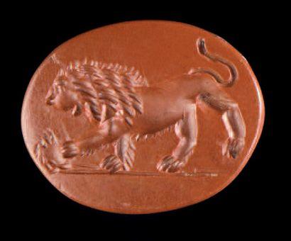 Intaille ovale et plate gravée d'un lion...