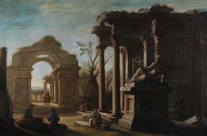 École ITALIENNE du XVIIe siècle, atelier de Giovanni GHISOLFI Promeneurs dans des...