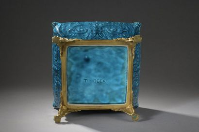 Theodore DECK  Square and flared earthenware planter  enamelled turquoise nuanced...