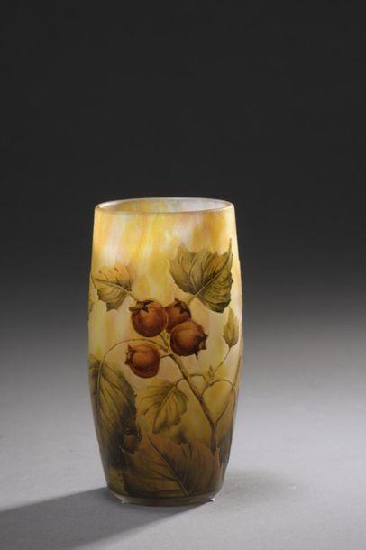 DAUM  Vase tubulaire ovoïde. Épreuve en verre...