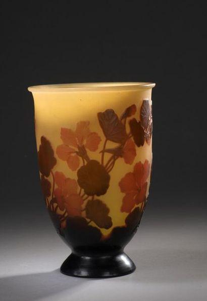 WELL-ESTABLISHED GALLERIES  Cornet vase on conical pedestal. Proof in  orange and...