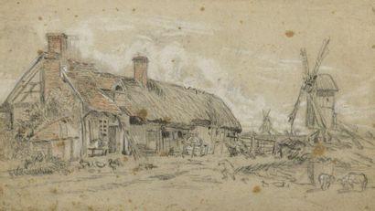 École HOLLANDAISE du XIXe siècle  Chaumière...