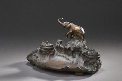 Albert MARIONNET (1852-1910)  Encrier « Éléphant...