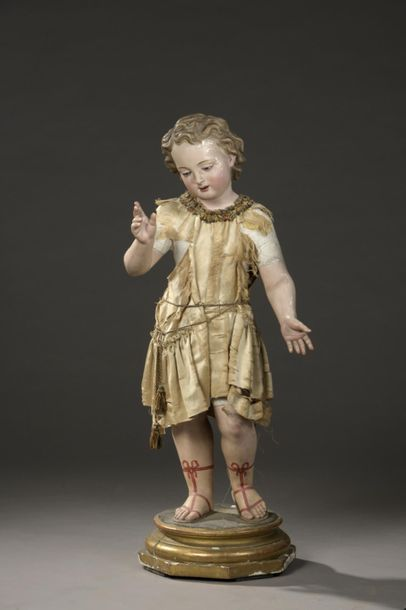 Statuette en papier mâché et plâtre représentant...