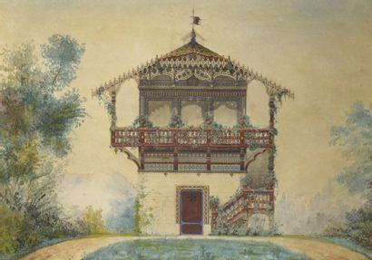 École ANGLAISE du XIXe siècle  Un pavillon...