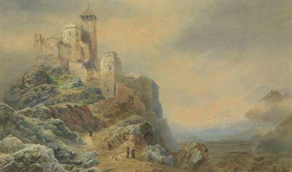 École ANGLAISE vers 1850  Un château dans...