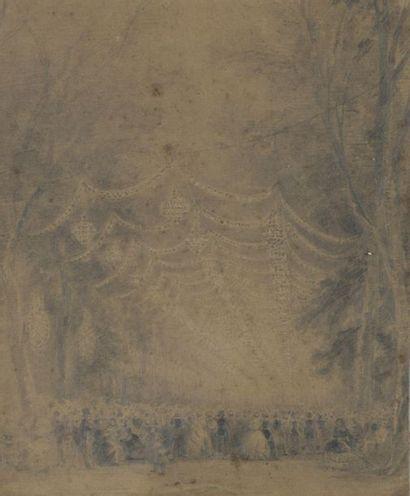 École ANGLAISE vers 1880  Un bal  Crayon...