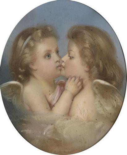 Émile NICOLLE (Rouen 1830 - 1894)  Deux putti...