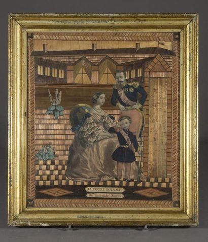 La famille Impériale  Lithographie et collage...