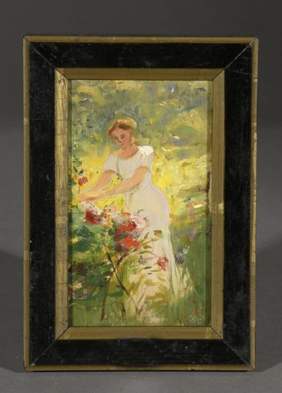 Albert LYNCH (1851-1912)  Femme au jardin...