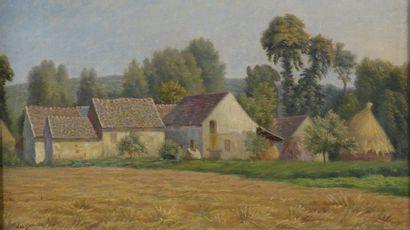 Léo GAUSSON (1860-1944)  Village de Gouvernes,...