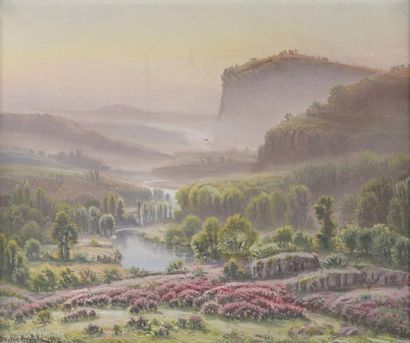 Gaston ANGLADE (1854-1919)  La Dordogne au...