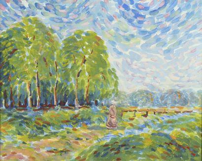 Léo GAUSSON (1860-1944)  Paysage  Aquarelle...