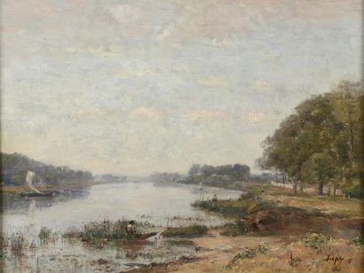 Louis-Aimé JAPY (1839-1916)  Paysage en bord...