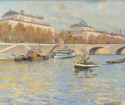 Gustave POETZSCH (1870-1950)  Bateaux au...