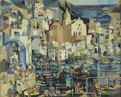 Marcel BUSSON (1913-2015)  Le port de Cadaquès...