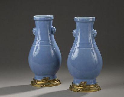 CHINE - XIXe siècle  Paire de vases à panse...