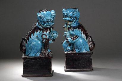 CHINE - Fin XIXe siècle  Couple de chimères...
