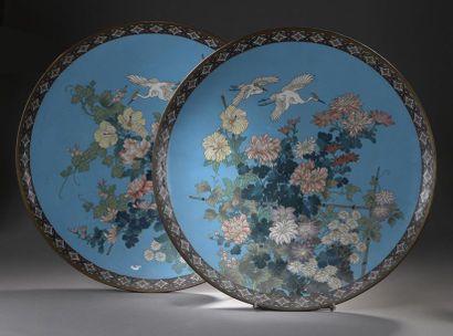 JAPON - Époque MEIJI (1868-1912)  Deux plats...