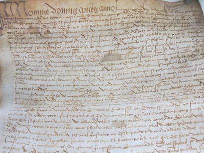 Acte notarié du XV° ou XVI° siècle  Manuscrit...
