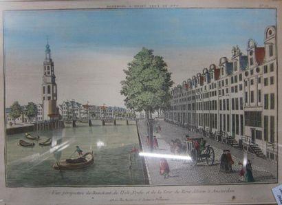 Deux vues d'optique aquarellées  Amsterdam...