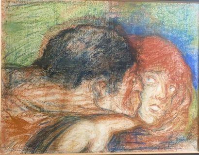 ECOLE SYMBOLISTE du début du XXème siècle  Satyre embrassant une nymphe  Pastel...