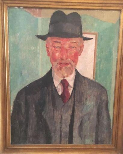 Edmond DELECLUSE  Portrait d'homme au chapeau...