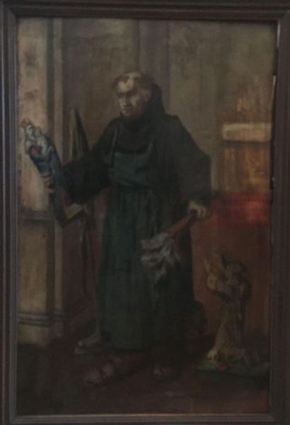 French school end of the 19th century  Monk cleaning  Oil on panel  Slots  53.5...