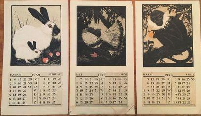 Calendriers 1934  Trois gravures sur bois,...