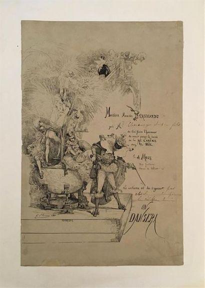 Georges CLAIRIN (1843-1919)  Billet d'invitation...