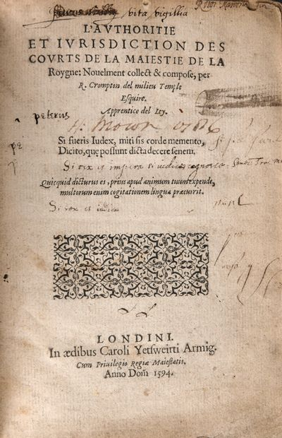 CROMPTON, Richard - L'Authoritie et iurisdiction...
