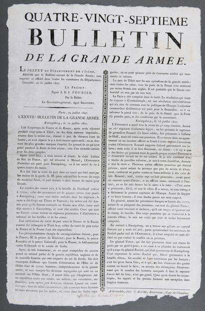 BULLETIN DE LA GRANDE ARMÉE.  Affiche imprimée....