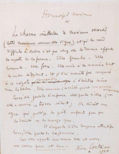 COCTEAU Jean [Maisons-Laffitte, 1889 - Milly-la-Forêt, 1963], poète et écrivain...