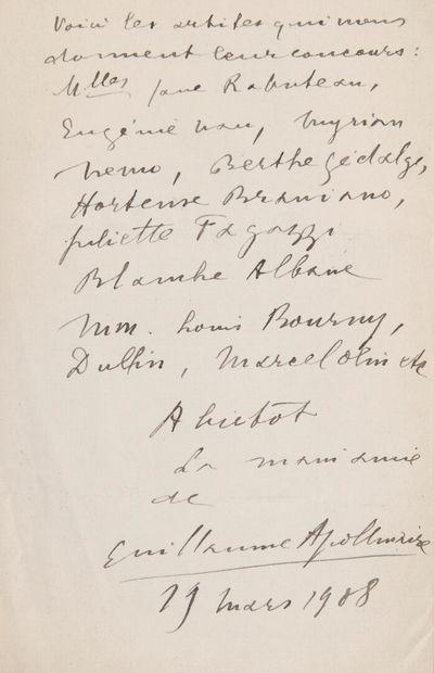 APOLLINAIRE Guillaume (Wilhelm Apollinaris de Kostrowitzky, dit) [Rome, 1880 - Paris,...