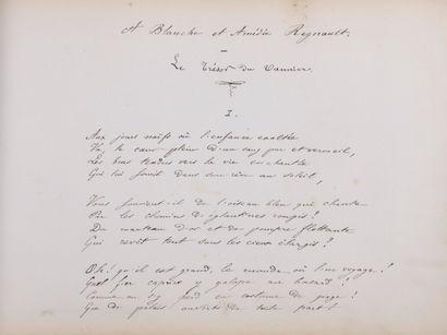 ALBUM AMICORUM.  Recueil de poèmes autographes signés dans un grand album relié...
