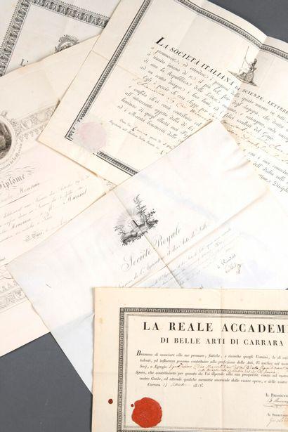 ARCHIVE Théodore-Edme MIONNET [Paris, 1770 - id., 1842].  Ensemble de 7 diplômes...