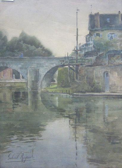 Gabriel ROGIER (XIX-XXème SIECLE)  Pont sur...