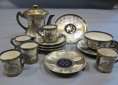 Service à thé en faïence de Satsuma, inc...