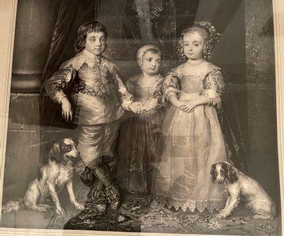 """Lot de deux gravures :  -""""Chevaux"""" d'après Carle VERNET  -""""Les enfants de Charles..."""