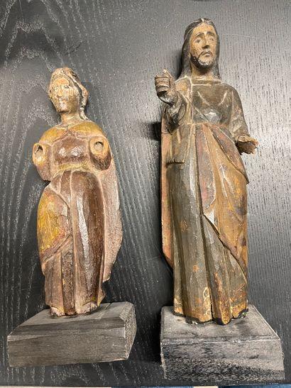 Deux figures de Saints en bois, XVIIème...