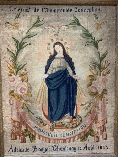 Immaculée Conception en canevas de laine...
