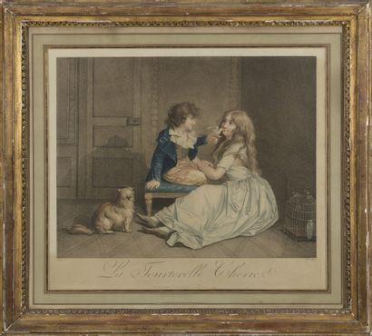 D'après BOILLY (1761-1845)  La crainte mal fondée  La tourterelle chérie  Paire...