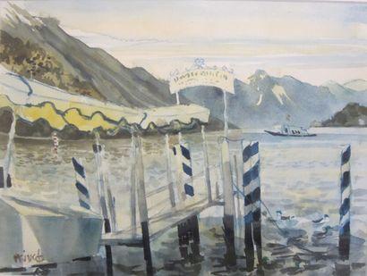 Michel KING (1930)  -Embarcadère à Bellagio,...