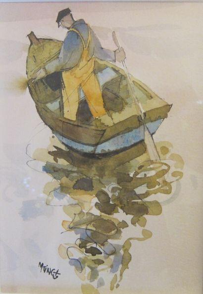 Michel KING (1930)  La Godille  Aquarelle,...