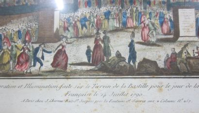 Vue de la décoration et illumination fait sur le terrain de la Bastille pour le...