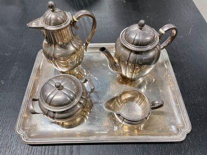 Service thé café de quatre pièces avec plateau...