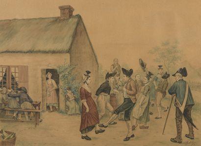 Henri MATHIEU (XXe siècle)  Fête populaire  Aquarelle sur papier, signée et datée...