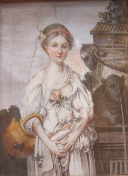 Dans le goût fin XVIIIème siècle  Jeune fille...
