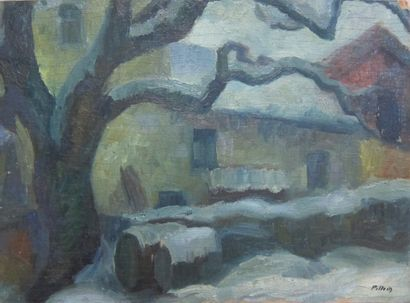 Robert PILLODS (1908-1990)  Village franc-comtois...