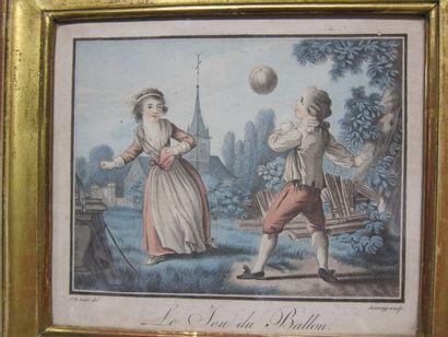 Louis Marin BONNET,  d'après Jean-Baptiste HUET  Le petit sabot - Le jeu du ballon...